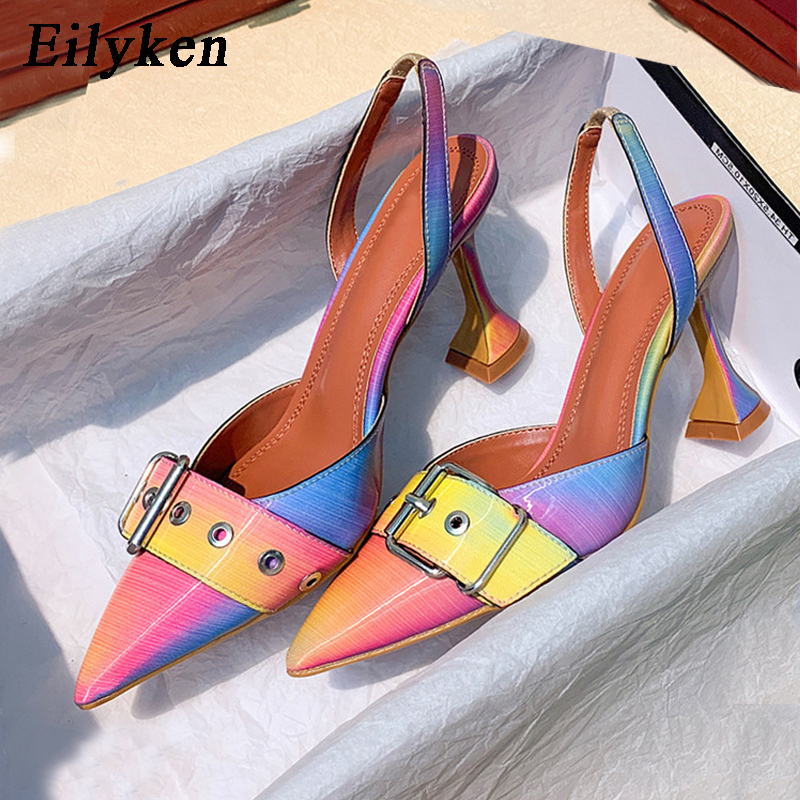 Eilyken 2020 New Buckle Strap Mules Summer Women Pumps Shoes Spike High Heels Pointed Toe Rainbow  Dress Shoes Size 41 42