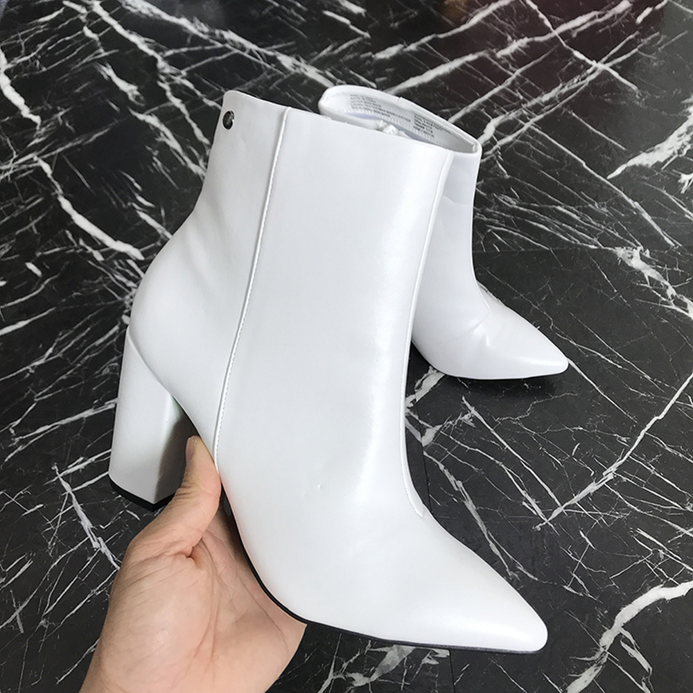 Women 2019 popular best-selling American large size white high-heeled Chelsea boots ladies thick with wild pointed  bare boots