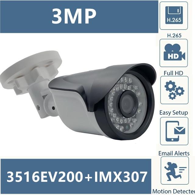 Sony IMX307 + 3516EV200 IP Macchina Fotografica Della Pallottola 3MP 2304*1296 H.265 illuminazione Bassa 36 Led Infrarossi IRC NightVision ONVIF XMEYE CMS P2P