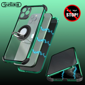 Privacy Metal Magnetic Tempered Glass Phone Case For Apple iPhone 11 Pro Max XR X XS 7 8 Plus Magnet Antispy Protective Cover