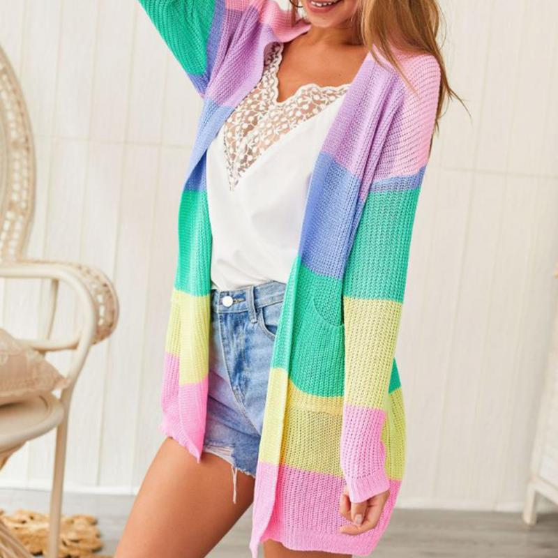 2019 Autumn Sweater Women Long Sleeve Patchwork Knitted Open Front Rainbow Striped Cardigan Women Coat Sueter Mujer Invierno