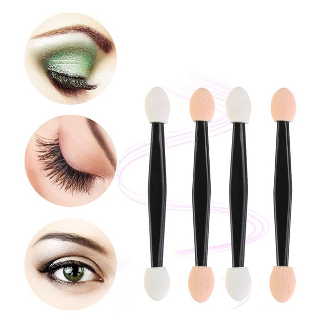 30/50/100 PCS Disposable Eyeshadow Brush Dual Sided Sponge Nylon Sets Make up Eye Shadow Brushes For Cosmetic Applicator Makeup 2