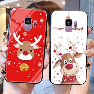 Чехол из закаленного стекла для Samsung Galaxy A7 2018 A50 A70 A40 A30 A9 J4 Plus J7 Prime J6 J5 J7 2017 S8 S9 Plus S10e Merry Christmas
