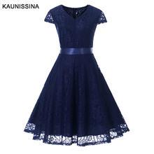 Женское кружевное платье с v образным вырезом до колена