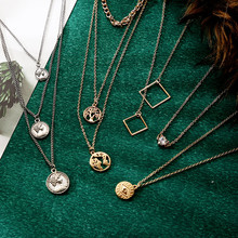 Luokey Antique Gold Layered Pendant Necklace Modern Jewelry For Women Geometric Round Coin Evil Eye Necklace Collares Mujer 2020 stylish layered round pendant necklace for women