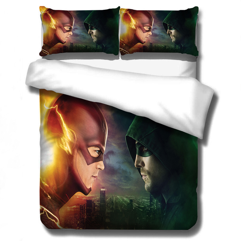 The Flash Arrow 3D Bedding Set Duvet Covers Pillowcases Super Hero Justice League Comforter Bedding Sets Bedclothes Bed Linen