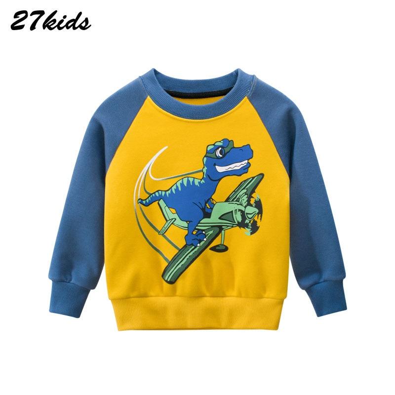27kid Dinosaur Pattern Boys kids T-shirt For Kids Autumn Sweatershirt Blouse Tops Children's sweater hood Spring Clothing 1