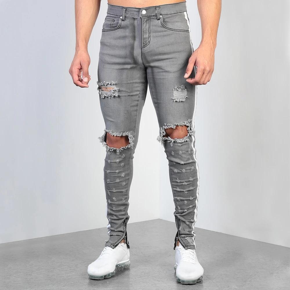 Jeans De Hombre Vintage Gris Pantalones Ajustados Destruidos Rasgados Jeans Streetwear Hombre Roto Punk Pantalones Homme Hip Hop Jeans Hombres D25 Pantalones Vaqueros Aliexpress