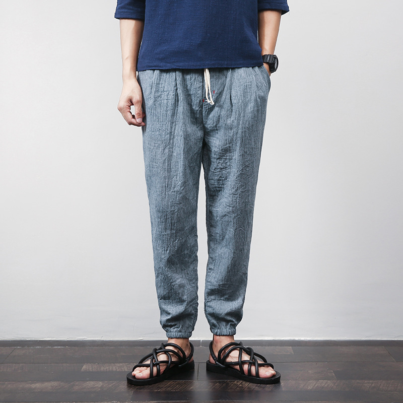 Supply Of Goods Cotton Linen Trousers Men's Thin Linen Pants Skinny Pants Beach Shorts Ankle Banded Pants Large Size