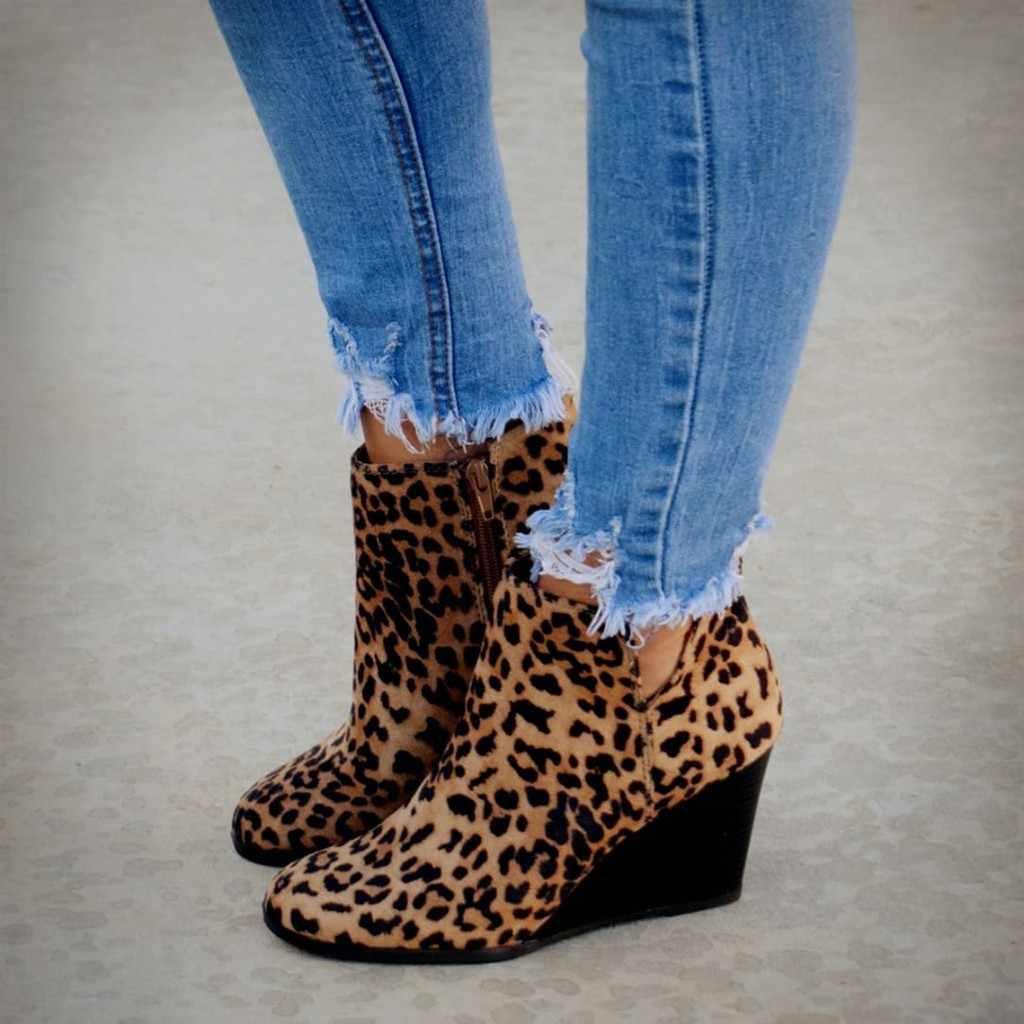 Kadın Çizmeler Bayanlar Moda Kızlar Leopar Takozlar Ayak Bileği Fermuar kısa çizmeler Bootie Ayakkabı Kadın rahat ayakkabılar Artı Boyutu M840 #