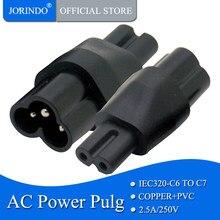 Jorindo iec 320 c6 para c7, 2 pinos c7 para c6 masculino trevo plug ac adaptador de alimentação conversor