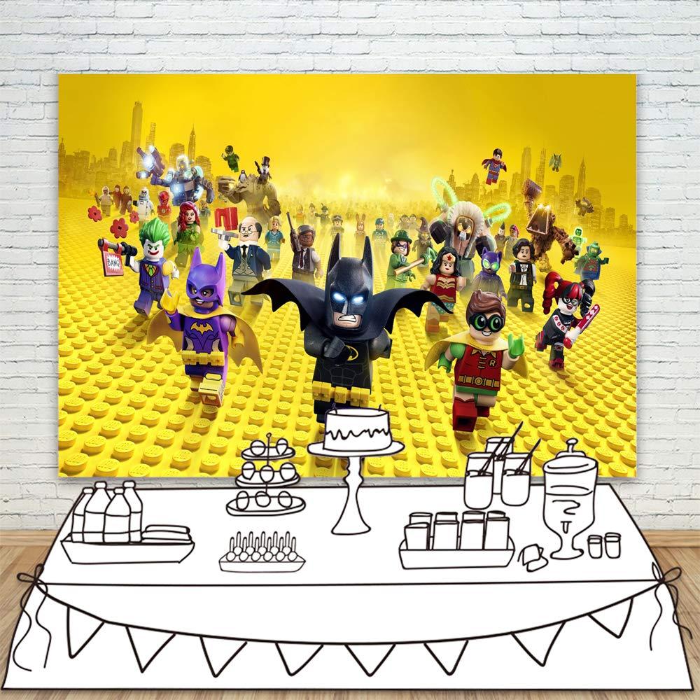 Photocall Lego Party Backdrop Building Blocks Marvel Hero Batman Photo Background For Boy Girl Baby Child Birthday Decoration