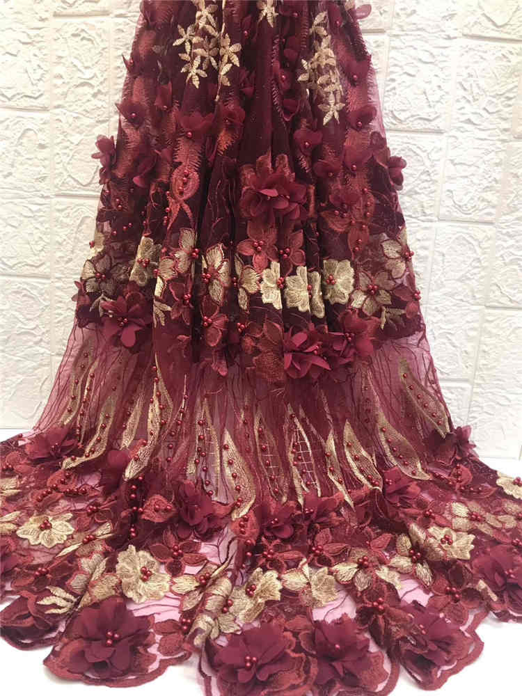 Hot sprzedaży 3D aplikacja koronki 2019 afryki tiulu koronki z koralikami tkaniny na suknie wieczorowe Win668i wino fioletowy w Koronka od Dom i ogród na  Grupa 1