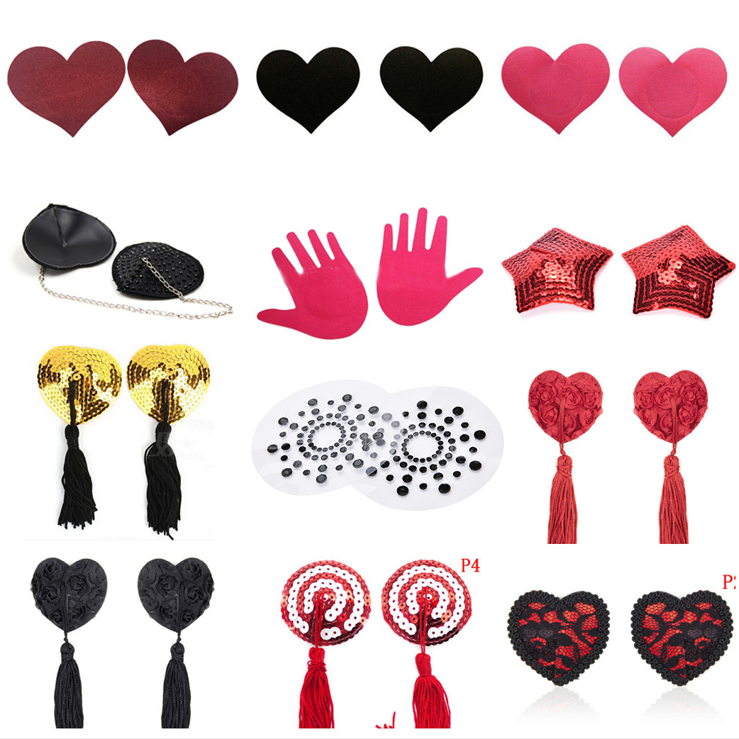 1 Pair Women Sexy Self Adhesive Sequin Tassel Cover Heart Shape Bra Nipple Cover Pasties Breast Petals