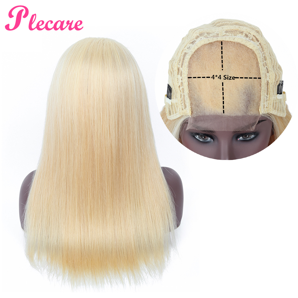 Plecare 4*4 Human Hair Wigs 613 Wig Lace Closure Human Hair Wigs For Black Women Straight Brazilian Non Remy-in Closure & Frontal Wigs from Hair Extensions & Wigs    1