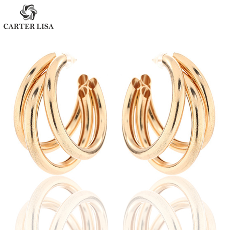 CARTER LISA Solid Gold Siver Tiny Piercing Hoop Earings For Women Girl Cartilage Ear Jewelry Party Personality Gifts Pendientes