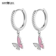 Butterfly Earrings Wedding-Jewelry New-Fashion Pink for Woemn Hoop Cubic-Zircon