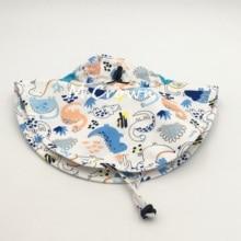 Kids Boys New Fashion Dinosaur Printed UV Protection Buckets Cap with Cloak
