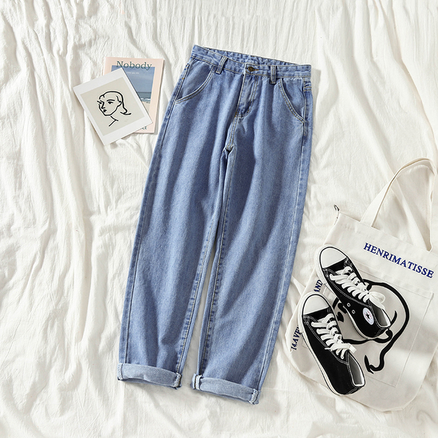 Jeans Women Straight Loose School High Waist Solid Simple Harajuku Womens Trousers Denim Korean Style All-match Females Fashion 2