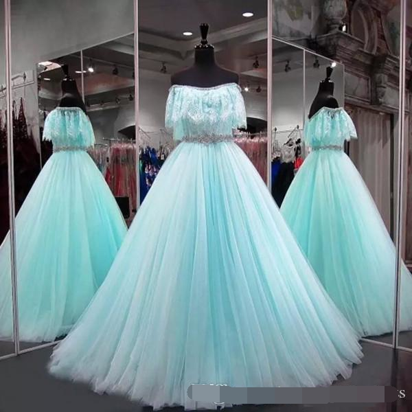 2019 Quinceanera Dresses Off the Shoulder vestidos de 15 anos Floor Length Prom Dresses With Crystal Sash Sweet 16 ball Gown