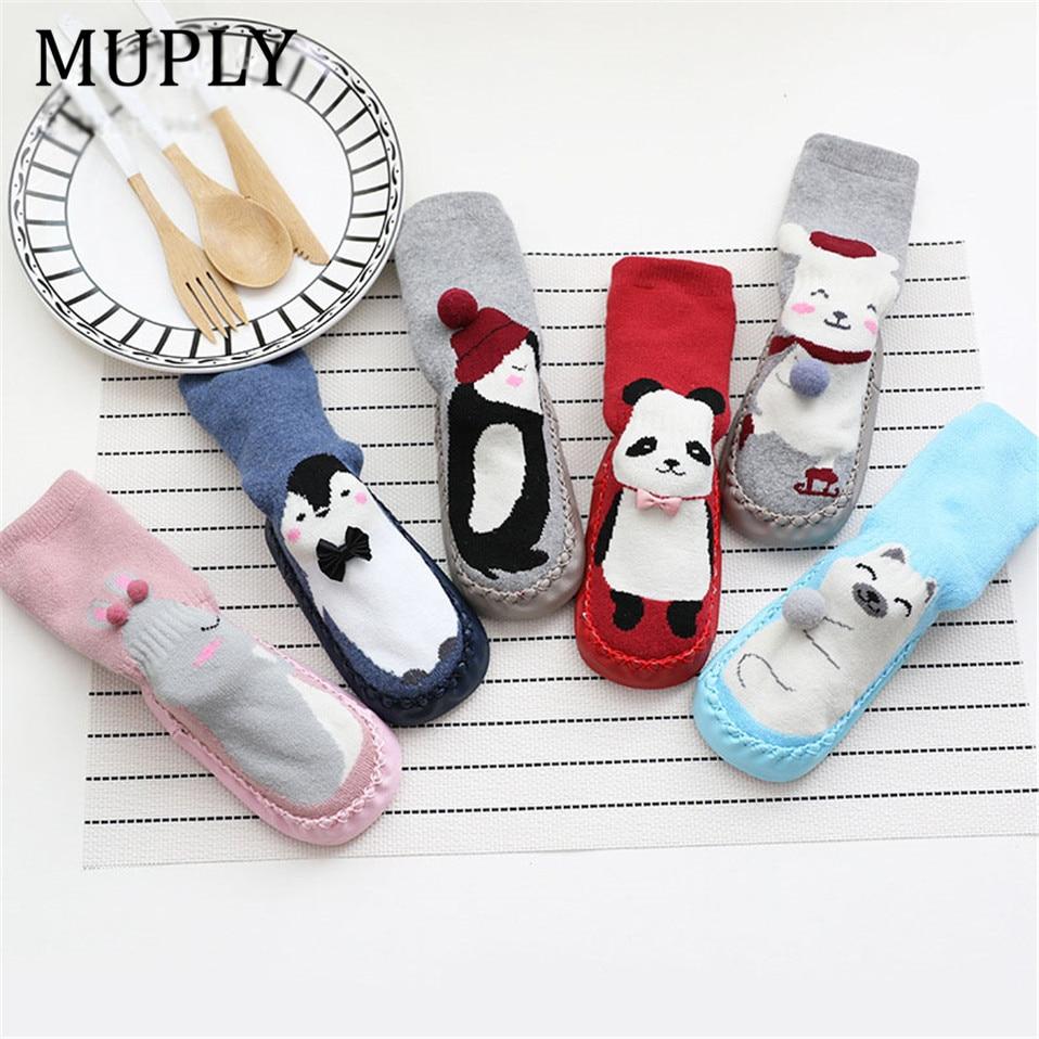 Calcetines de bebé de invierno para bebé, niño y niña, chaussette, calcetines de algodón para bebé, Calcetines antideslizantes, calcetines de bebé para andar