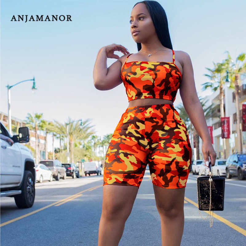 Anjamanor Camouflage Print Casual Tweedelige Set Crop Top En Broek Zomer Korte Trainingspak Vrouwen Sexy Bodycon Romper D74-BI19