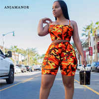 ANJAMANOR Camouflage Print Casual Two Piece Set Crop Top and Pants Summer Short Tracksuit Women Sexy Bodycon Romper D74-AA21
