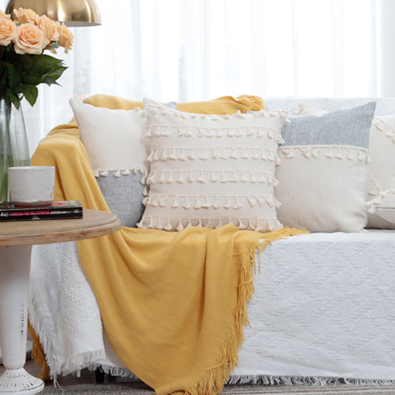 Xinjiang Cotton Patchwork Cushion Cover with Tassel Eco-friendly Fabric for Pillow Case Sofa Cushion Bed Cushion China Cotton