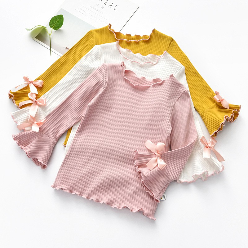 >Autumn Girl Solid <font><b>Color</b></font> Long-sleeved Shirt Children <font><b>Casual</b></font> Tops Baby Soft <font><b>Outfits</b></font> New