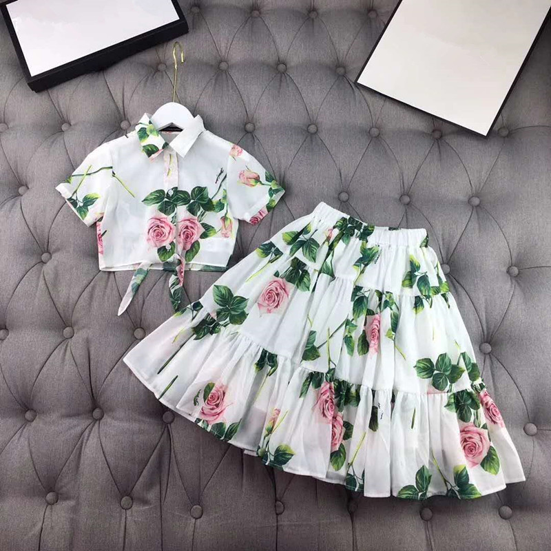 Girl's Fashion Mesh Set Girls' Summer Fashion Brand Set Kids Shirt + Skirt 2 Pcs