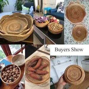 Image 5 - בעבודת יד טבעי במבוק אריגת נצרים סל סט עגול חלול Creative אחסון מיכל פירות מזון לחם גדול מטבח