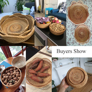 Image 5 - Juego de cesta de mimbre tejida de bambú Natural artesanal, contenedor de almacenamiento creativo hueco redondo para fruta, comida, pan, utensilios de cocina grandes