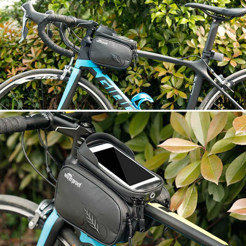 الدراجة حقيبة MTB دراجة handerbar الجبهة إطار أعلى أنبوب أكياس الهاتف حالة للماء 5.5 بوصة الدراجات اللمس شاشة مزدوجة الجانب حزمة