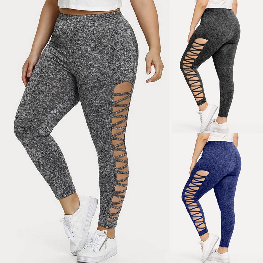 Autumn NEW Fashion Womens Plus Size 5XL High Waist Elastic Hollow Out Sport Casual Solid Fitness Thin Pants Freeship брюки