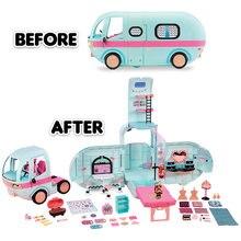 Lol surpresa bonecas de disco de inverno bonecas lols figura brinquedos 2-em-1 glamper original picnic carro brinquedos conjuntos para meninas