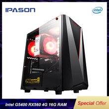 IPASON дешевый игровой ПК Intel 8th Gen G5400 RX560 4G 16G ram Поддержка DVI/HDMI/DP настольные компьютеры для игры LOL/TOMB RAIDER/WOW