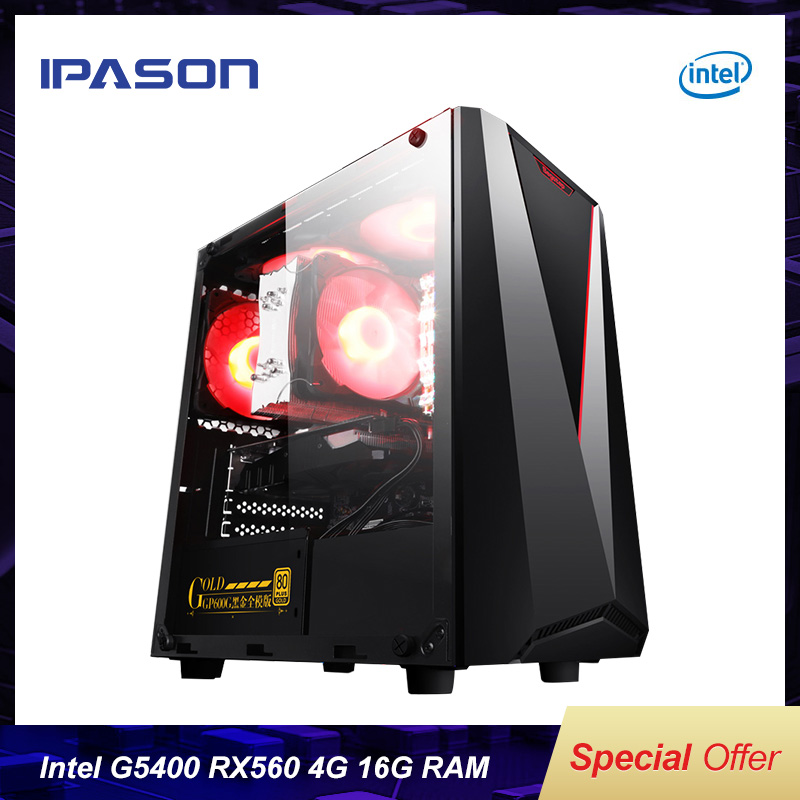 IPASON CHEAP Gaming PC Intel 8th Gen G5400 RX560 4G 16G RAM support DVI HDMI DP Desktop Computers For Game LOL TOMB RAIDER WOW
