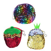 Bling Sequin Double Color Coin bag Wallet Change Purse Zipper Round Clutch Earphone Cable Storage Key Card Holder Student Gift(China)