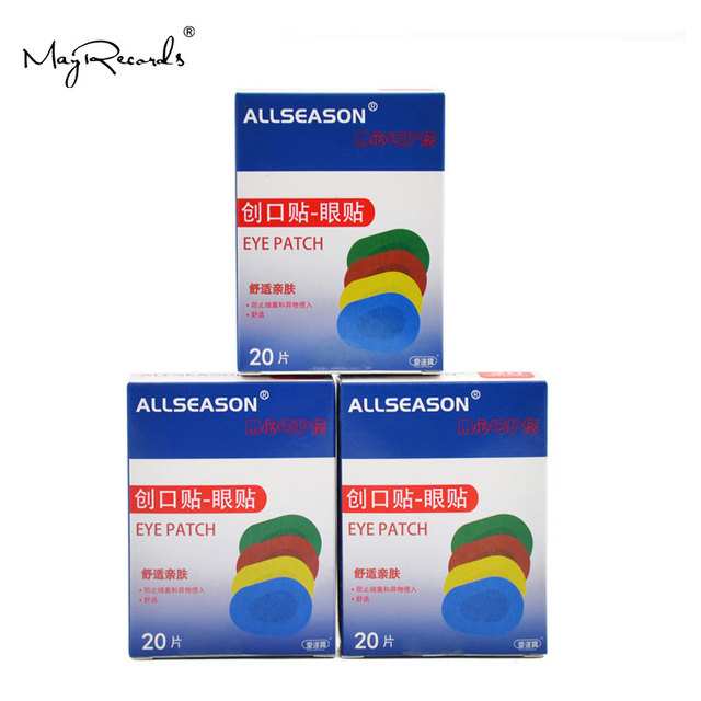 Free Shipping 60PCs/3Boxes Colorful Breathable Eye Patch Band Aid Medical Sterile Eye Pad Adhesive Bandages First Aid Kit 6