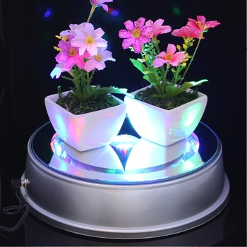 New 18x16x6cm LED Colorful Luminous Crystal lamp holder Base Rotating Display Stand Glass Jewelery Shop Home Ornament Photograph