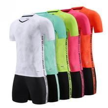 blank soccer jersey Blank football uniform soccer jerseys & shorts short-sleeved training suit Adult children's Football game team jersey Customized
