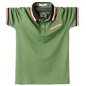 Image 2 - Мужская Повседневная рубашка поло, дышащая хлопковая рубашка поло с короткими рукавами и отложным воротником в стиле пэчворк, модель 5XL в полоску на лето