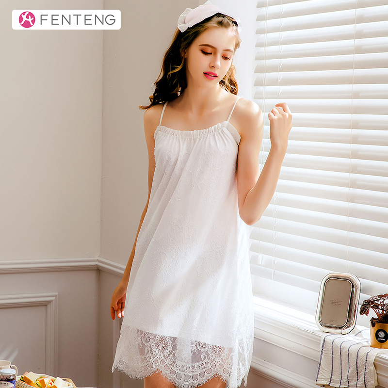 FENTENG Summer Women Robes Home Suit Lace Lounge Sleeveless Solid Sleepwear Nightgowns Homewear Sling NightdressJ98922433
