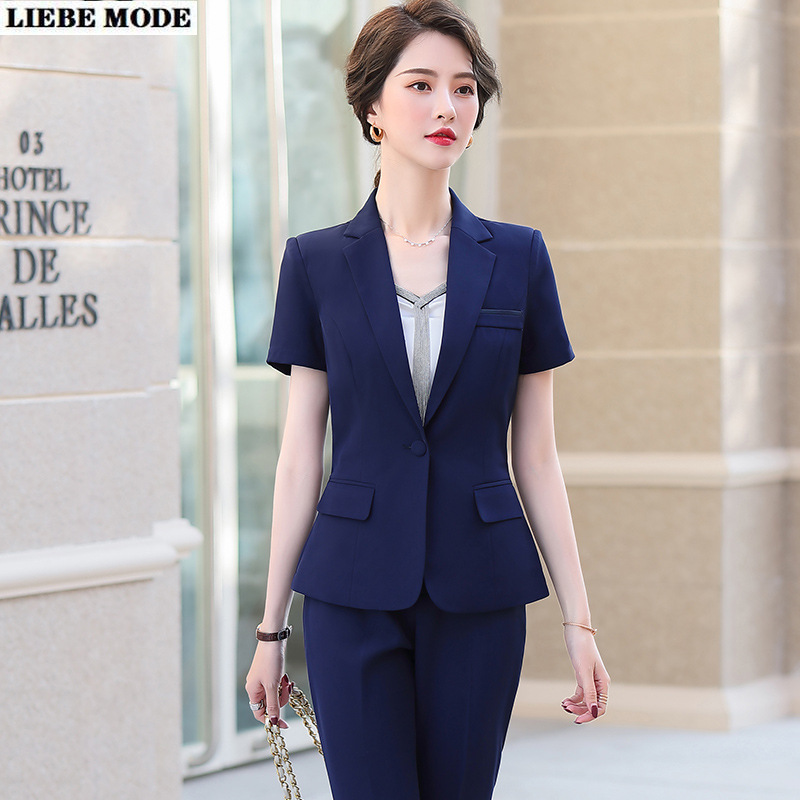 2020 Summer Womens Work Wear Formal Pant Suit for Women Short Sleeve Blazer and Trousers Suits Office 2 Piece Set Clothes
