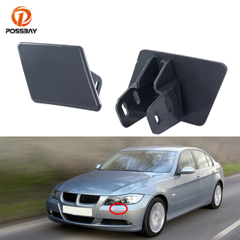 POSSBAY Car Front Bumper Headlight Washer Cover Gray Head Lamp Spray Cover Fit for BMW 3-Series E91 Wagon LCI Facelift 2008-2012 image
