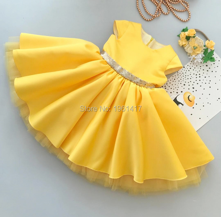 Girl Dresses For Wedding Floral Party Ball Gown Baby Girl Baptism Gown Girls Pageant First Communion Yellow Satin Gown Dress