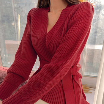 Ailegogo New 2020 Autumn Winter Women's V-Neck Sweaters Lace Up Tops Fashionable Korean Style Casual Solid Side Slit 2