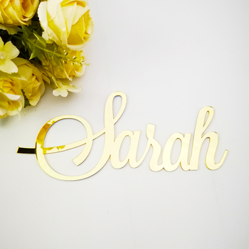 Custom Mirror Rose Gold Baby Name Sign Nursery Wall Decoration Personalized Black Name Sign Rustic Wedding Party Baptism