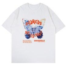 LACIBLE Streetwear Butterfly Letter Print T Shirt Men Hip Hop Harajuku T-Shirt Summer Short Sleeve Cotton Tees Oversized Unisex