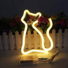 LED Neon Lights Cat Shaped Hanging Neon Lamp Wall Decor Sign Neon Lights Light up for Kids Room Bar Christmas as Kids Gift Light(China)